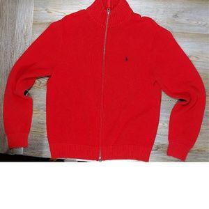 POLO RL Dark Red Zip-Up Sweater Men's Lg
